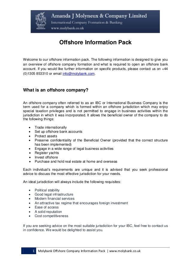 Offshore information pack Amanda J Molyneux & Company