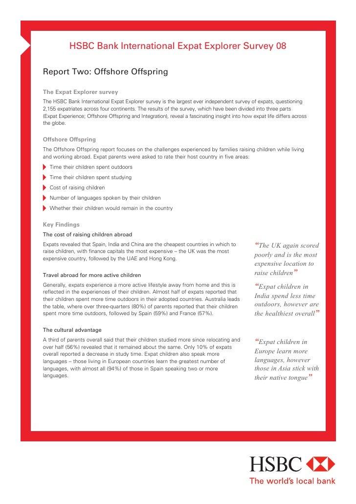HSBC Bank International Expat Explorer Survey 08  Report Two: Offshore Offspring  The Expat Explorer survey The HSBC Bank ...