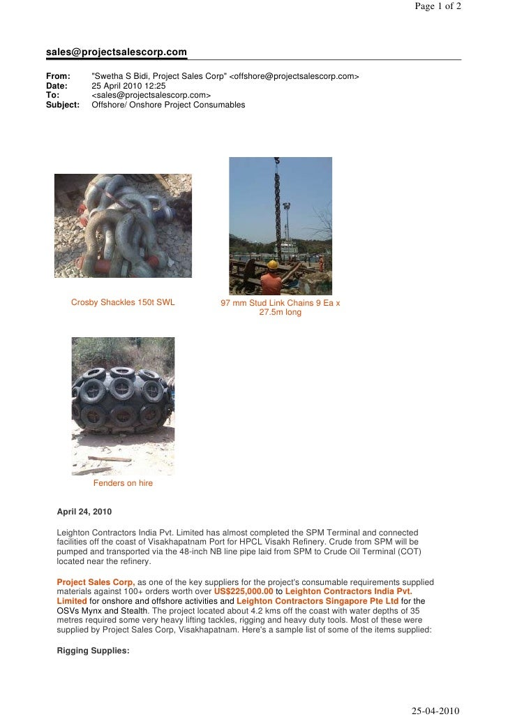 """Page 1 of 2    sales@projectsalescorp.com  From:      """"Swetha S Bidi, Project Sales Corp"""" <offshore@projectsalescorp.com> ..."""