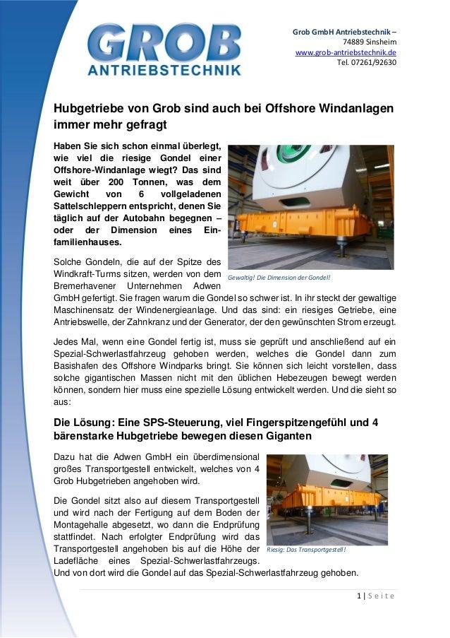 Grob GmbH Antriebstechnik – 74889 Sinsheim www.grob-antriebstechnik.de Tel. 07261/92630 1 | S e i t e Hubgetriebe von Grob...