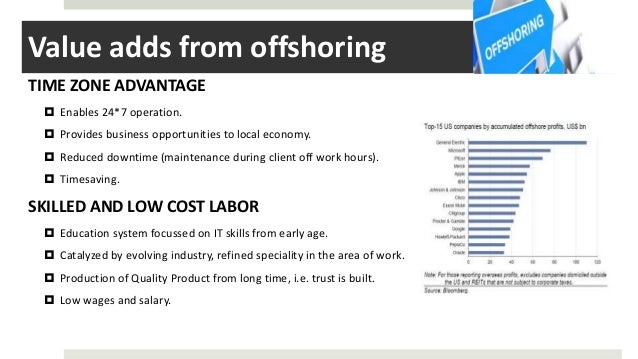 Value adds from offshoring TIME ZONE ADVANTAGE  Enables 24*7 operation.  Provides business opportunities to local econom...