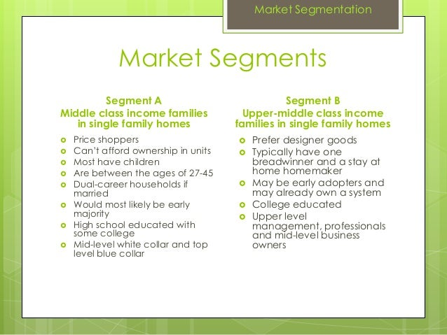 Market SegmentsSegment AMiddle class income familiesin single family homes Price shoppers Can't afford ownership in unit...