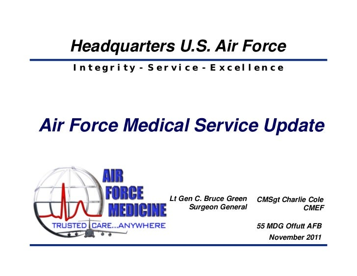 Headquarters U.S. Air Force   Integrity - Service - ExcellenceAir Force Medical Service Update                 Lt Gen C. B...