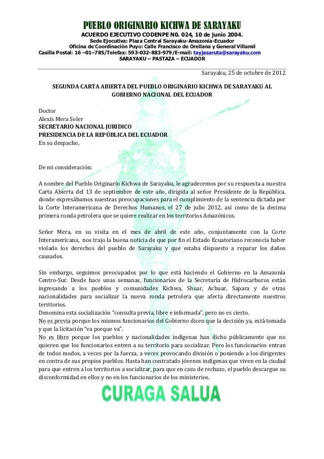 PUEBLO ORIGINARIO KICHWA DE SARAYAKU                  ACUERDO EJECUTIVO CODENPE N0. 024, 10 de junio 2004.                ...