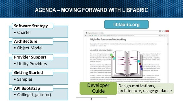 AGENDA – MOVING FORWARD WITH LIBFABRIC 2 • Charter Software Strategy • Object Model Architecture • Utility Providers Provi...