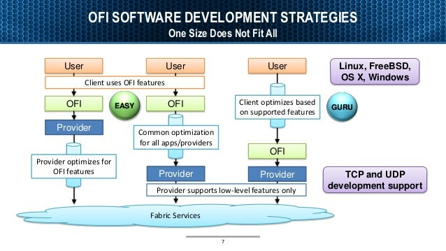 OFI SOFTWARE DEVELOPMENT STRATEGIES One Size Does Not Fit All 7 Fabric Services User OFI Provider User OFI Provider Provid...