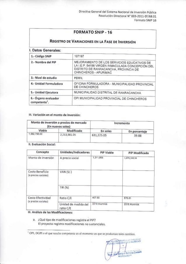 """Directiva General del Sistema Nacional de tnversión pública Reso uc¡ón Directorat N"""" 003-2011 EF/68.01 Formato SNtp 16 FOR..."""