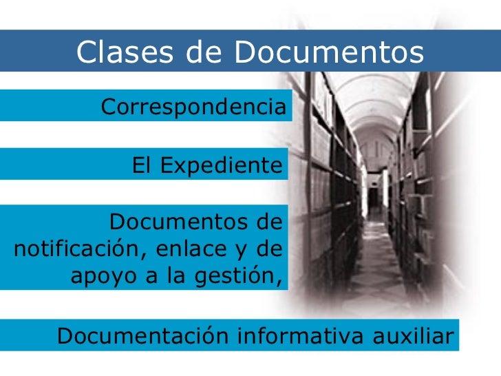 Clases de Documentos Clases de Documentos Correspondencia El Expediente Documentos de notificación, enlace y de apoyo a la...