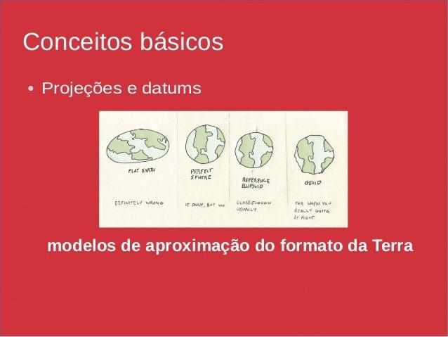 Conceitos básicos ● Projeções e datums modelos de aproximação do formato da Terra