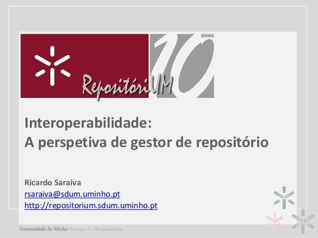 TÍTULO DA APRESENTAÇÃO Interoperabilidade: Complemento de títulogestor de repositório A perspetiva de Ricardo Saraiva • No...