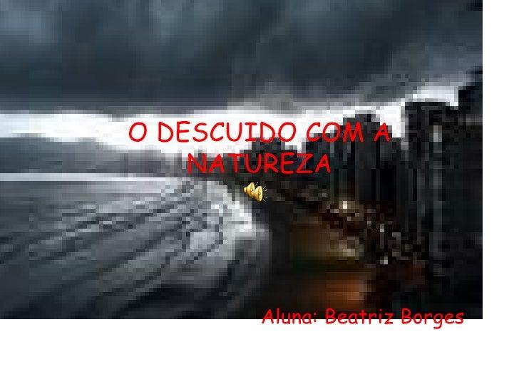 O DESCUIDO COM A NATUREZA Aluna: Beatriz Borges