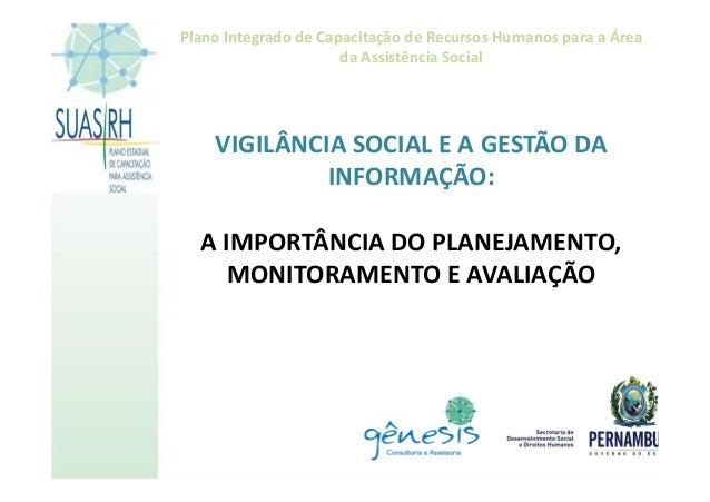 Plano Integrado de Capacitação de Recursos Humanos para a Área da Assistência Social VIGILÂNCIA SOCIAL E A GESTÃO DA INFOR...