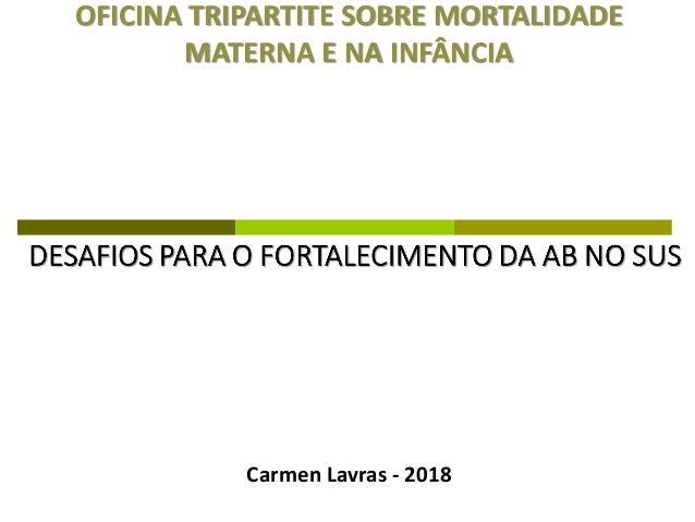 OFICINA TRIPARTITE SOBRE MORTALIDADE MATERNA E NA INFÂNCIA Carmen Lavras - 2018