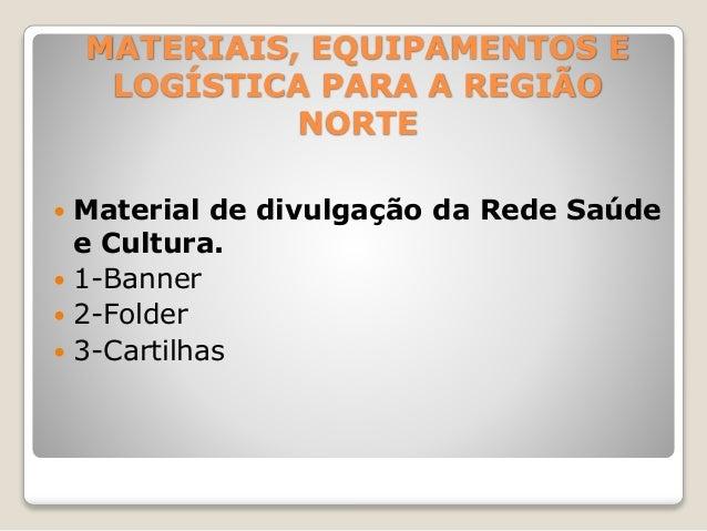 MATERIAIS, EQUIPAMENTOS E  LOGÍSTICA PARA A REGIÃO  NORTE   Material de divulgação da Rede Saúde  e Cultura.   1-Banner ...
