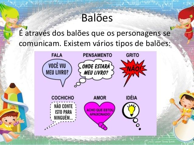 Balões É através dos balões que os personagens se comunicam. Existem vários tipos de balões: