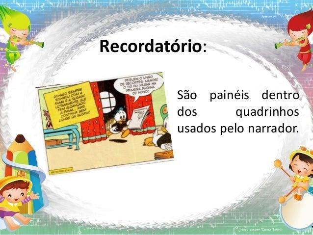 Recordatório: São painéis dentro dos quadrinhos usados pelo narrador.