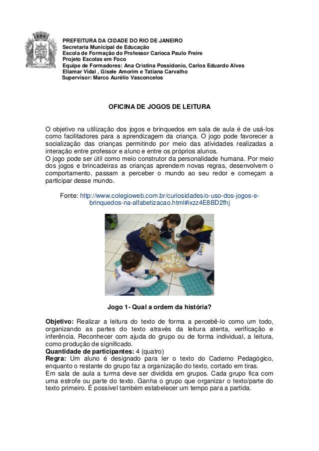 PREFEITURA DA CIDADE DO RIO DE JANEIRO Secretaria Municipal de Educação Escola de Formação do Professor Carioca Paulo Frei...