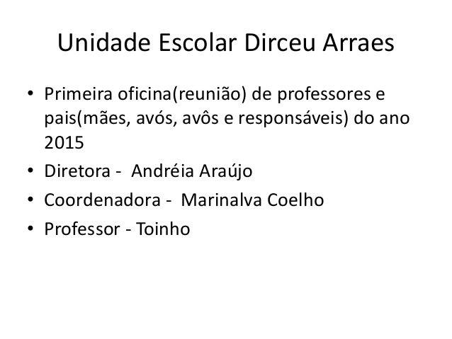 Unidade Escolar Dirceu Arraes • Primeira oficina(reunião) de professores e pais(mães, avós, avôs e responsáveis) do ano 20...