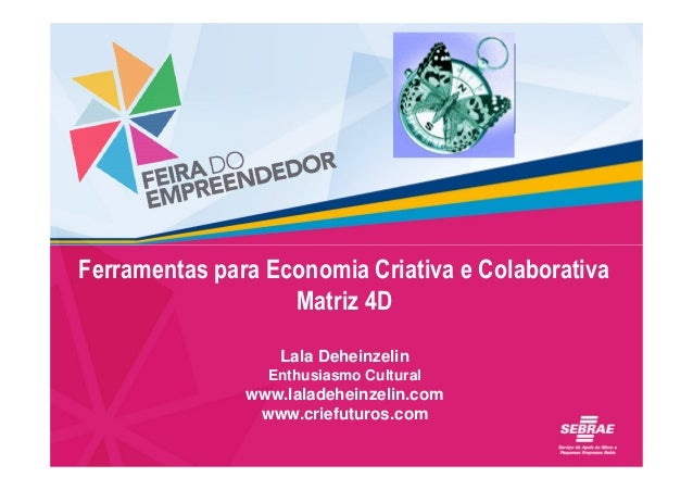 Inserir marca adicional aqui  Ferramentas para Economia Criativa e Colaborativa Matriz 4D Lala Deheinzelin Enthusiasmo Cul...