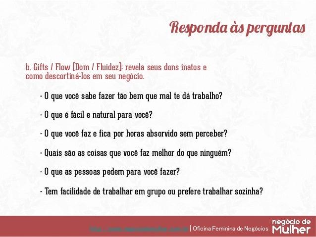 http://www.negociodemulher.com.br | Oficina Feminina de Negócios Responda às perguntas c. Value / Profitability (Valor / ...