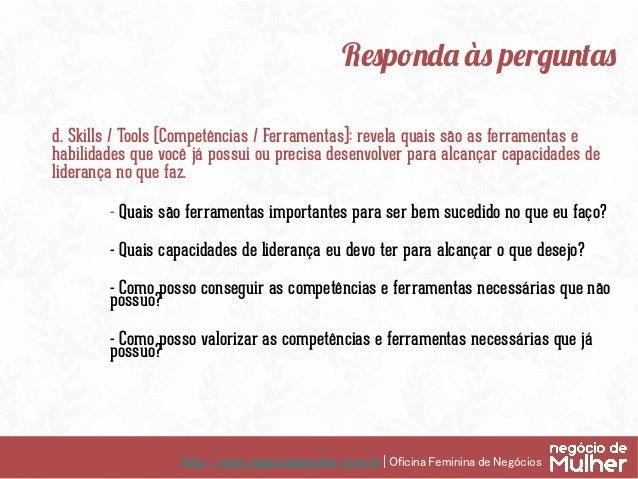 http://www.negociodemulher.com.br | Oficina Feminina de Negócios Analise ① Marque, circule o que faz sentido ② Faça as ...