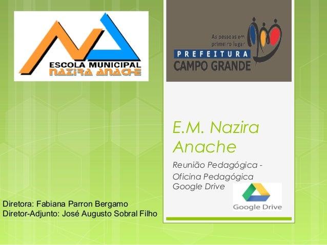 E.M. Nazira Anache Reunião Pedagógica - Oficina Pedagógica Google Drive Diretora: Fabiana Parron Bergamo Diretor-Adjunto: ...