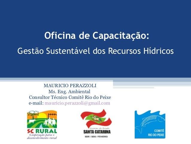 Oficina de Capacitação:                                .Gestão Sustentável dos Recursos Hídricos         MAURICIO PERAZZOL...