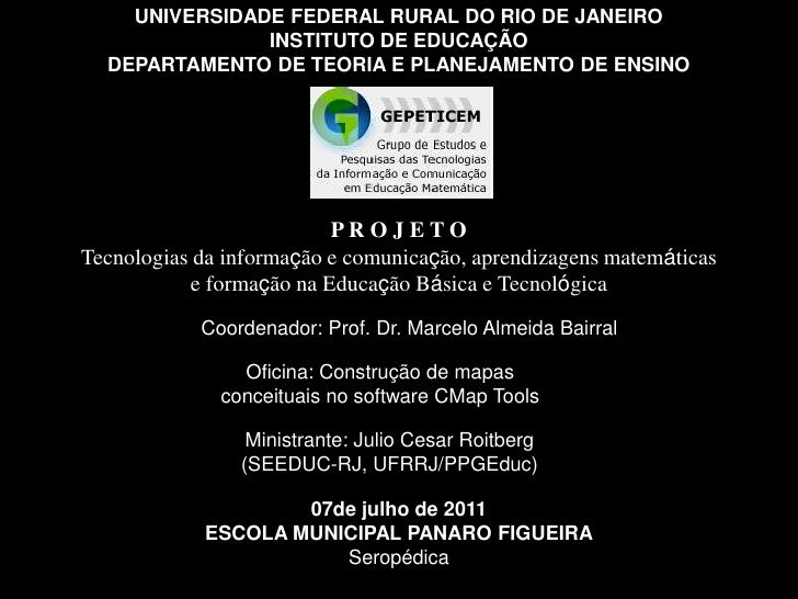 UNIVERSIDADE FEDERAL RURAL DO RIO DE JANEIRO<br />INSTITUTO DE EDUCAÇÃO<br />DEPARTAMENTO DE TEORIA E PLANEJAMENTO DE ENSI...