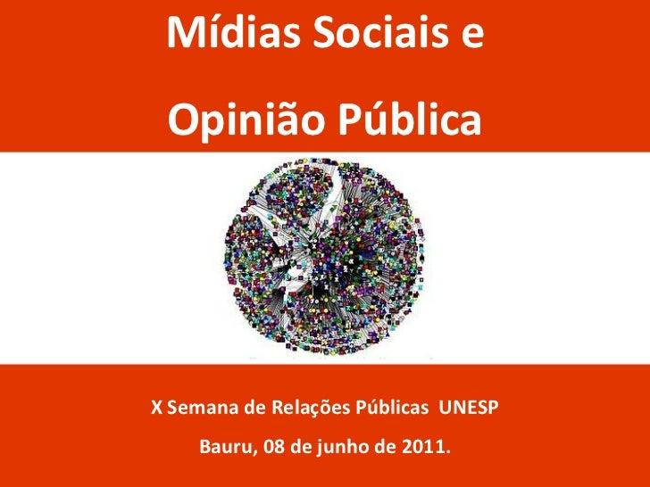 Mídias Sociais e Opinião PúblicaX Semana de Relações Públicas UNESP    Bauru, 08 de junho de 2011.