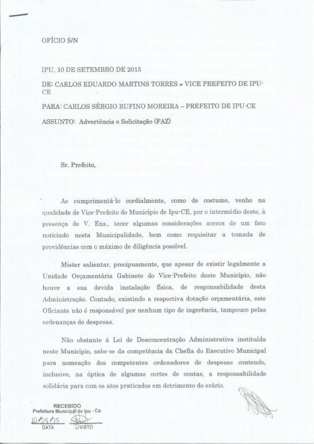 OFÍCIO S/ N  IPU,  10 DE SETEMBRO DE 2015  DEI CARLOS EDUARDO MARTINS TORRES . + VICE PREFEITO DE IPU- CE  PARAI CARLOS SÉ...