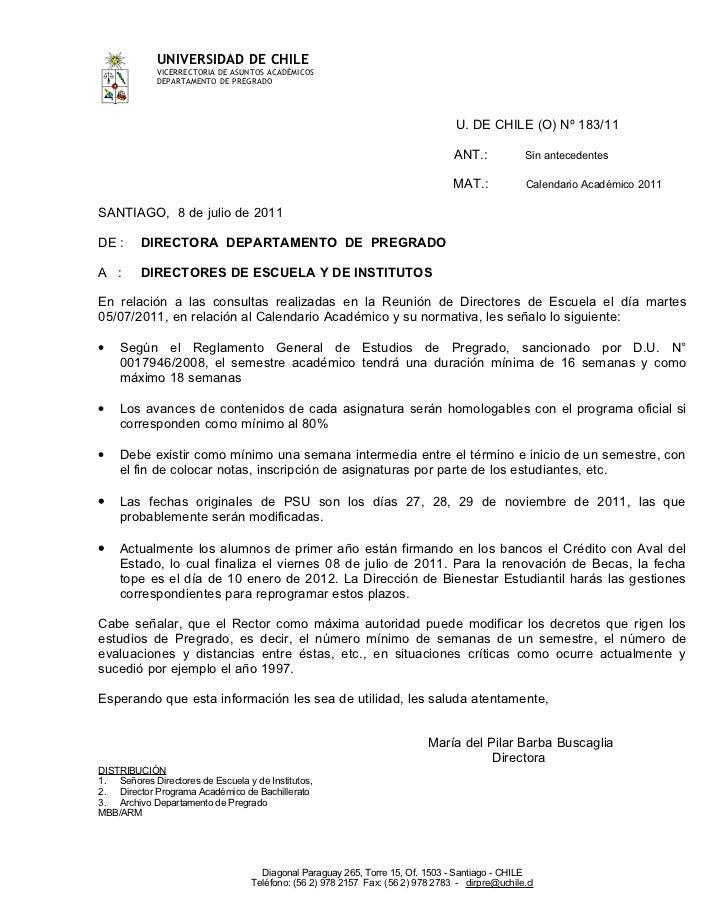 UNIVERSIDAD DE CHILE             VICERRECTORIA DE ASUNTOS ACADÉMICOS             DEPARTAMENTO DE PREGRADO                 ...