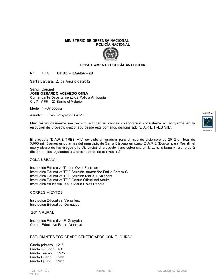 Oficio 037 solicitud sobre instructores dare a j1 for Ministerio de policia nacional