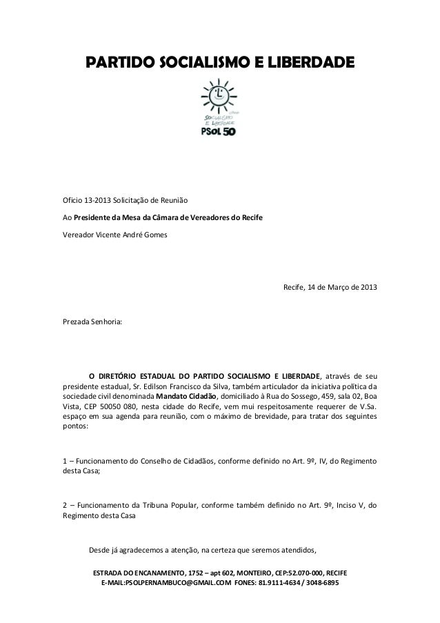 Ofício De Solicitação Tcc November 2019 Serviço