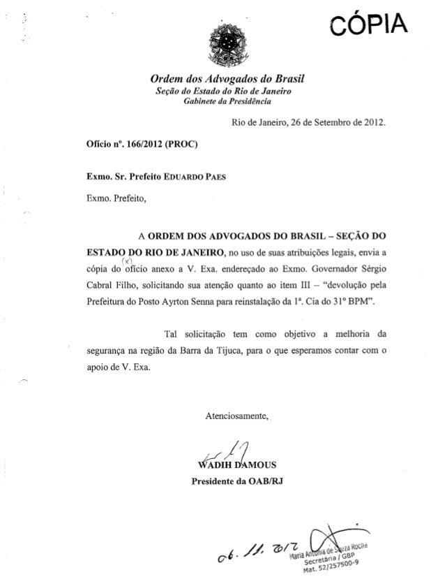 OAB-Barra - Ofício nº110/2012 e 166/2012 - Ao Governador e Prefeito - Sobre aumento do efetivo policial