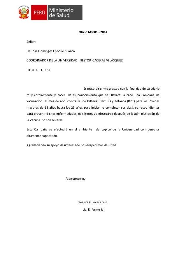 Oficio Nº 001 - 2014 Señor: Dr. José Domingos Choque huanca COORDINADOR DE LA UNIVERSIDAD NÉSTOR CACERAS VELÁSQUEZ FILIAL ...