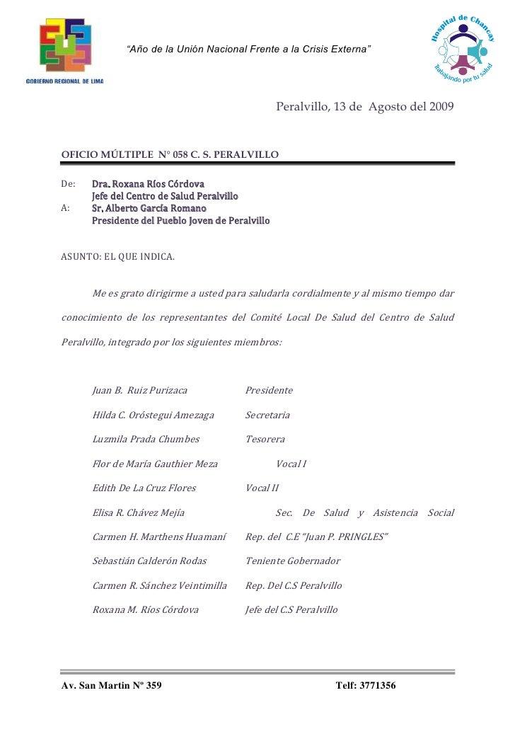 Peralvillo, 13 de  Agosto del 2009<br />OFICIO MÚLTIPLE  N° 058 C. S. PERALVILLO<br />De: Dra. Roxana Ríos Córdova <br />J...