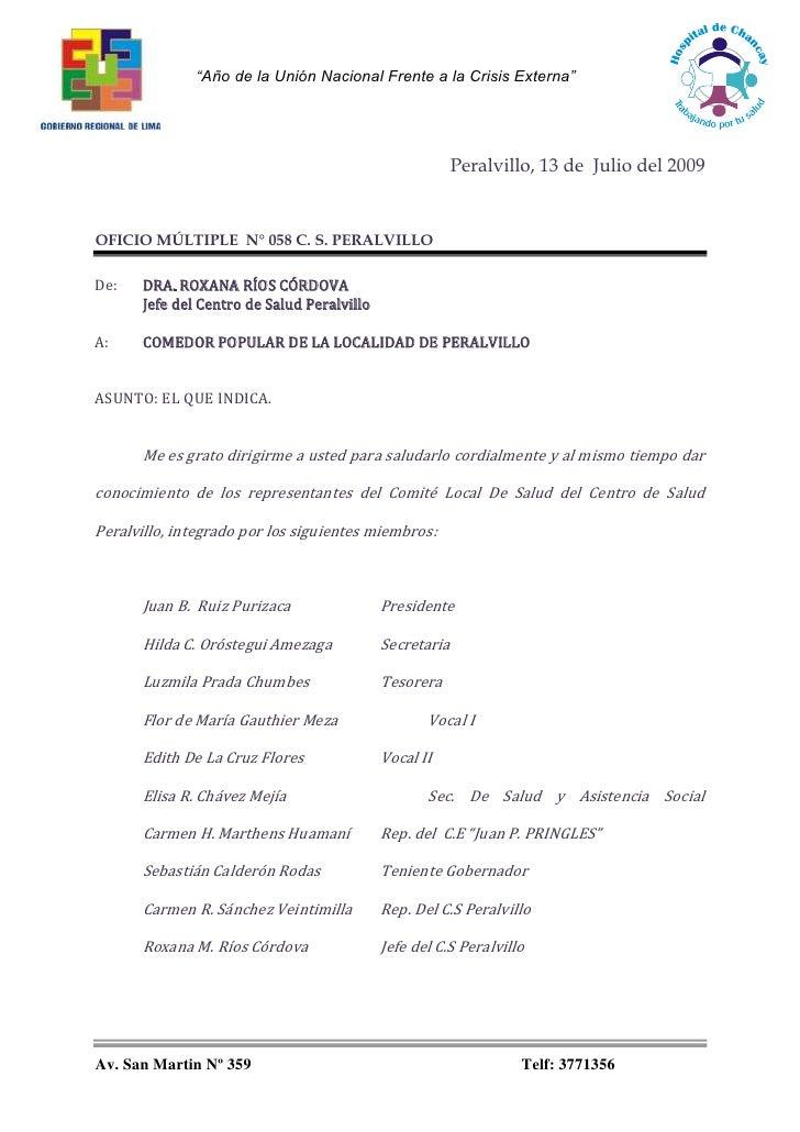 Peralvillo, 13 de  Julio del 2009<br />OFICIO MÚLTIPLE  N° 058 C. S. PERALVILLO<br />De: DRA. ROXANA RÍOS CÓRDOVA <br />Je...