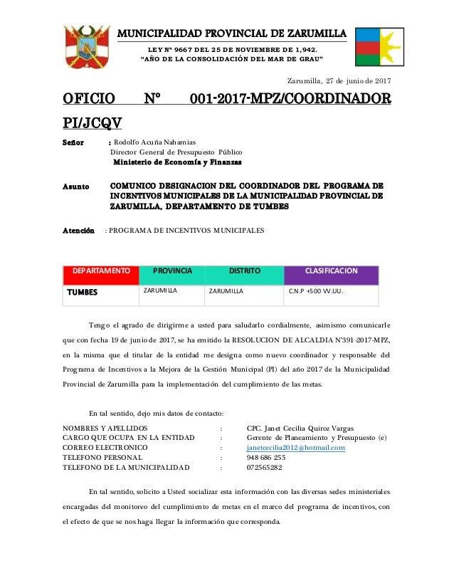 """MUNICIPALIDAD PROVINCIAL DE ZARUMILLA LEY Nº 9667 DEL 25 DE NOVIEMBRE DE 1,942. """"AÑO DE LA CONSOLIDACIÓN DEL MAR DE GRAU"""" ..."""