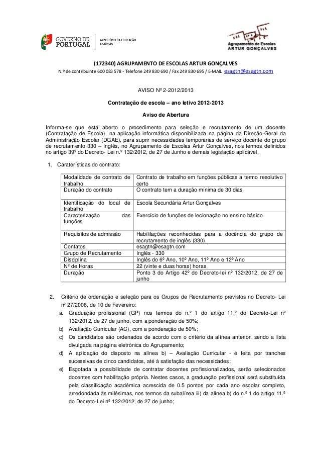 (172340) AGRUPAMENTO DE ESCOLAS ARTUR GONÇALVES                                                                  esagtn@es...