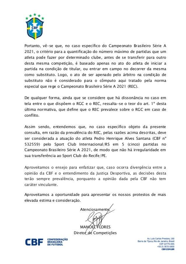 Ofício da CBF sobre o caso Pedro Henrique, do Sport Slide 2