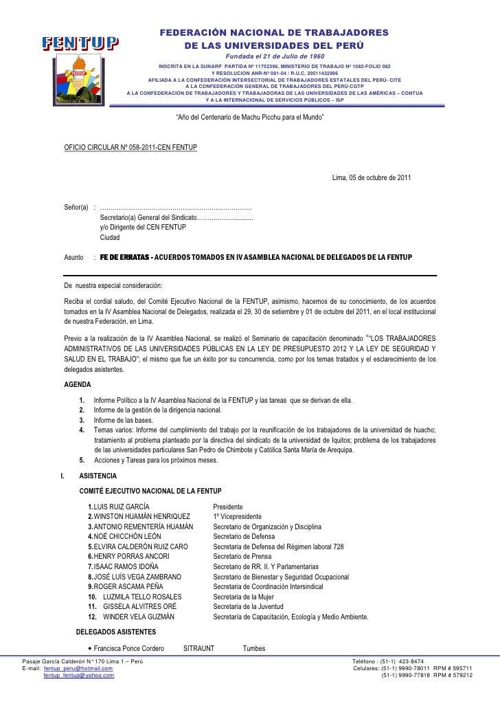 FEDERACIÓN NACIONAL DE TRABAJADORES                                                     DE LAS UNIVERSIDADES DEL PERÚ     ...