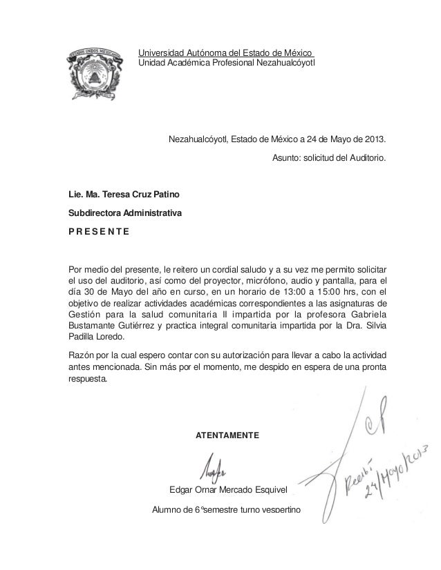 Oficio de peticiòn del auditorio (gestiön)