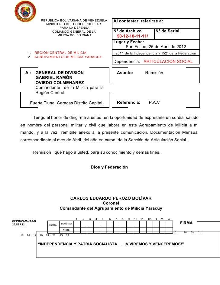 REPÚBLICA BOLIVARIANA DE VENEZUELA                Al contestar, referirse a:                       MINISTERIO DEL PODER PO...