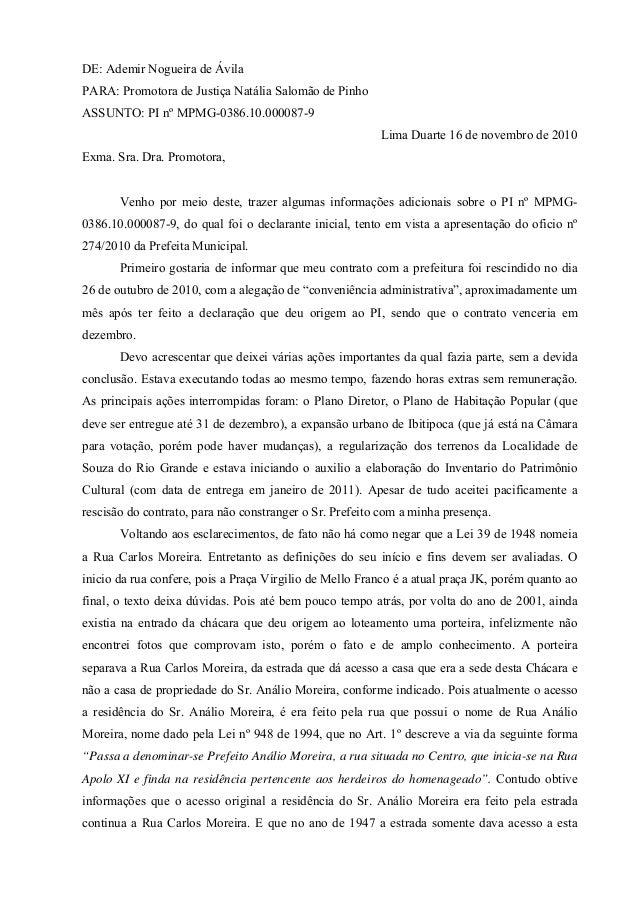 DE: Ademir Nogueira de Ávila PARA: Promotora de Justiça Natália Salomão de Pinho ASSUNTO: PI nº MPMG-0386.10.000087-9 Lima...