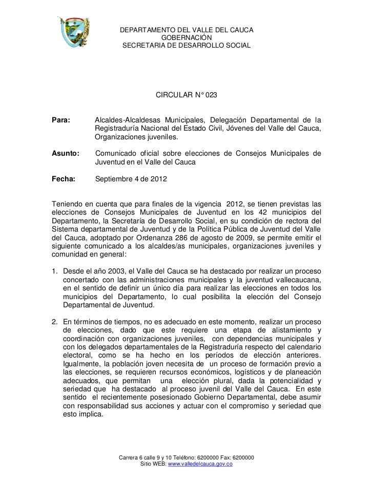 DEPARTAMENTO DEL VALLE DEL CAUCA                              GOBERNACIÓN                     SECRETARIA DE DESARROLLO SOC...