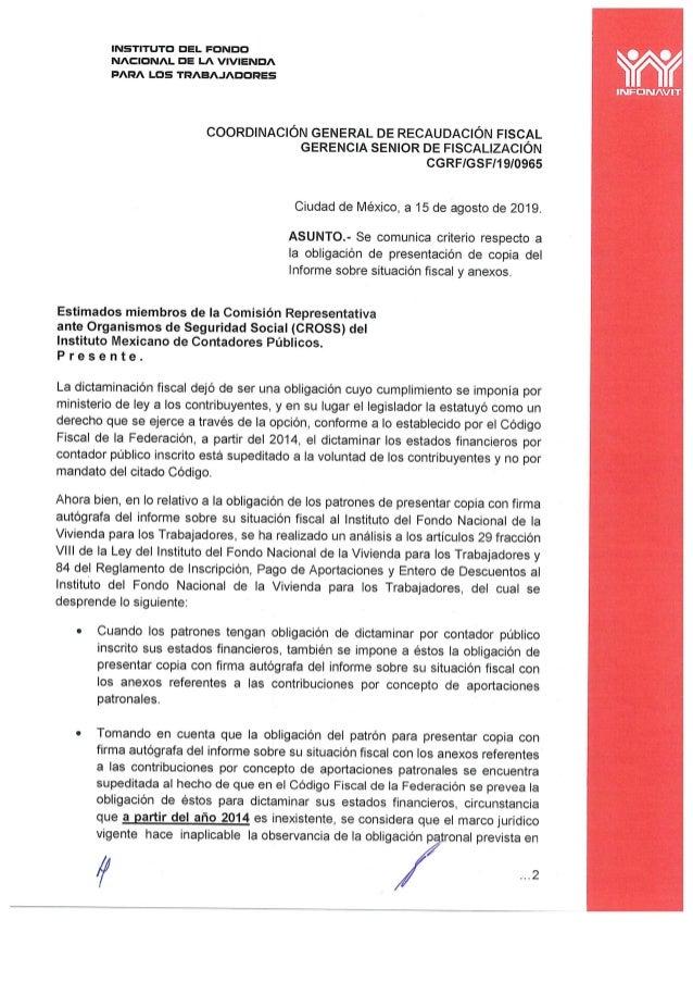 Oficio infonavit CGRS/GSF/19/0965