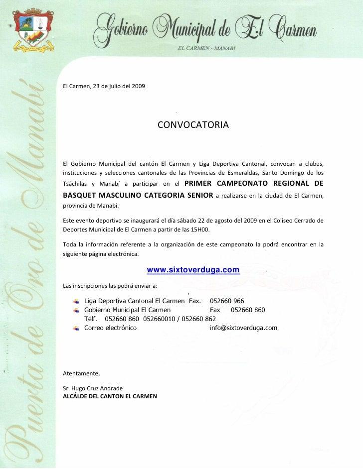 El Carmen, 23 de julio del 2009                                             CONVOCATORIA   El Gobierno Municipal del cantó...