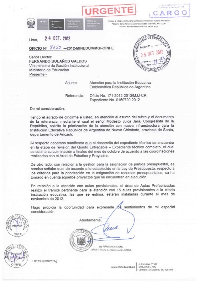 Oficio ministerio de educaci n aulas prefabricadas for Ministerio educacion exterior