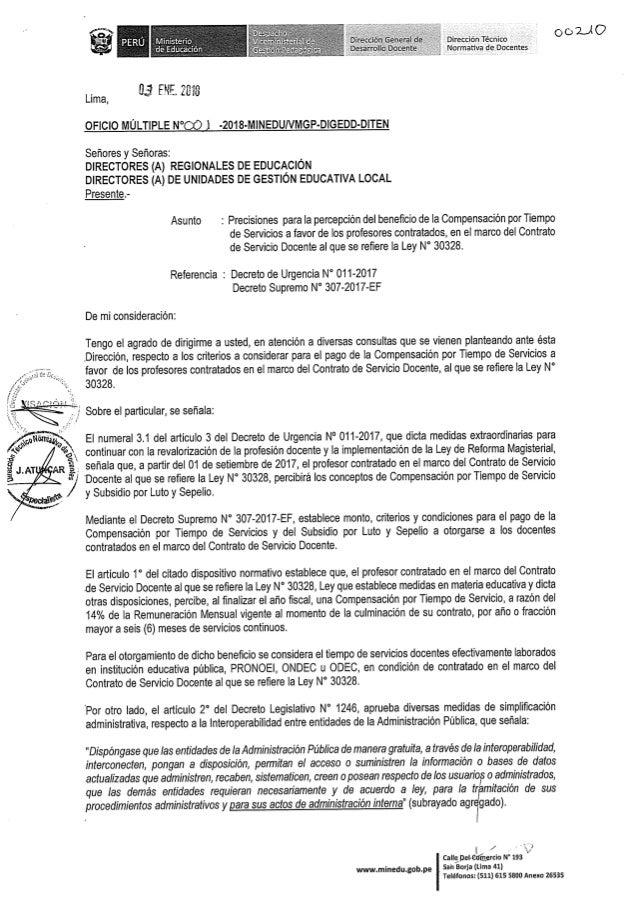 Precisiones para percepción CTS de docentes contratados - Oficio múltiple N° 001 2018-MINEDU