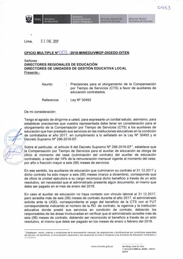 Precisiones para otorgamiento de CTS a favor de Auxiliares de Educación Contratados - Oficio Múltiple N° 003 2018-MINEDU